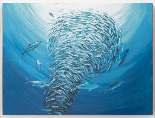 original oil painting fish tuna bait ball blue water ocean spiral swarm underwater