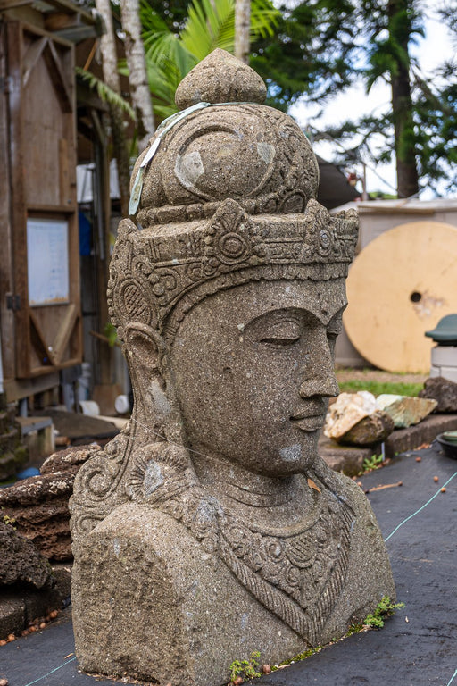 large hand carved stone shiva head bust garden outdoor statue