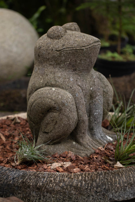 sitting hand carved stone garden statue Indonesia for sale