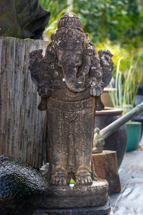 Standing Ganesha Hand Carved Stone Statue