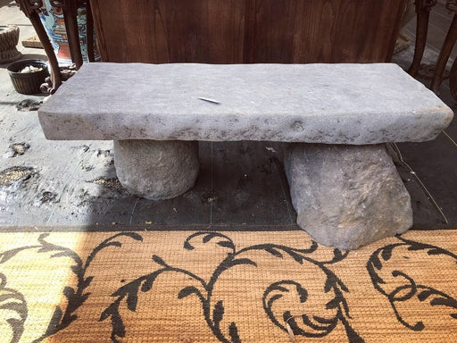 Carved Lava Stone Bench