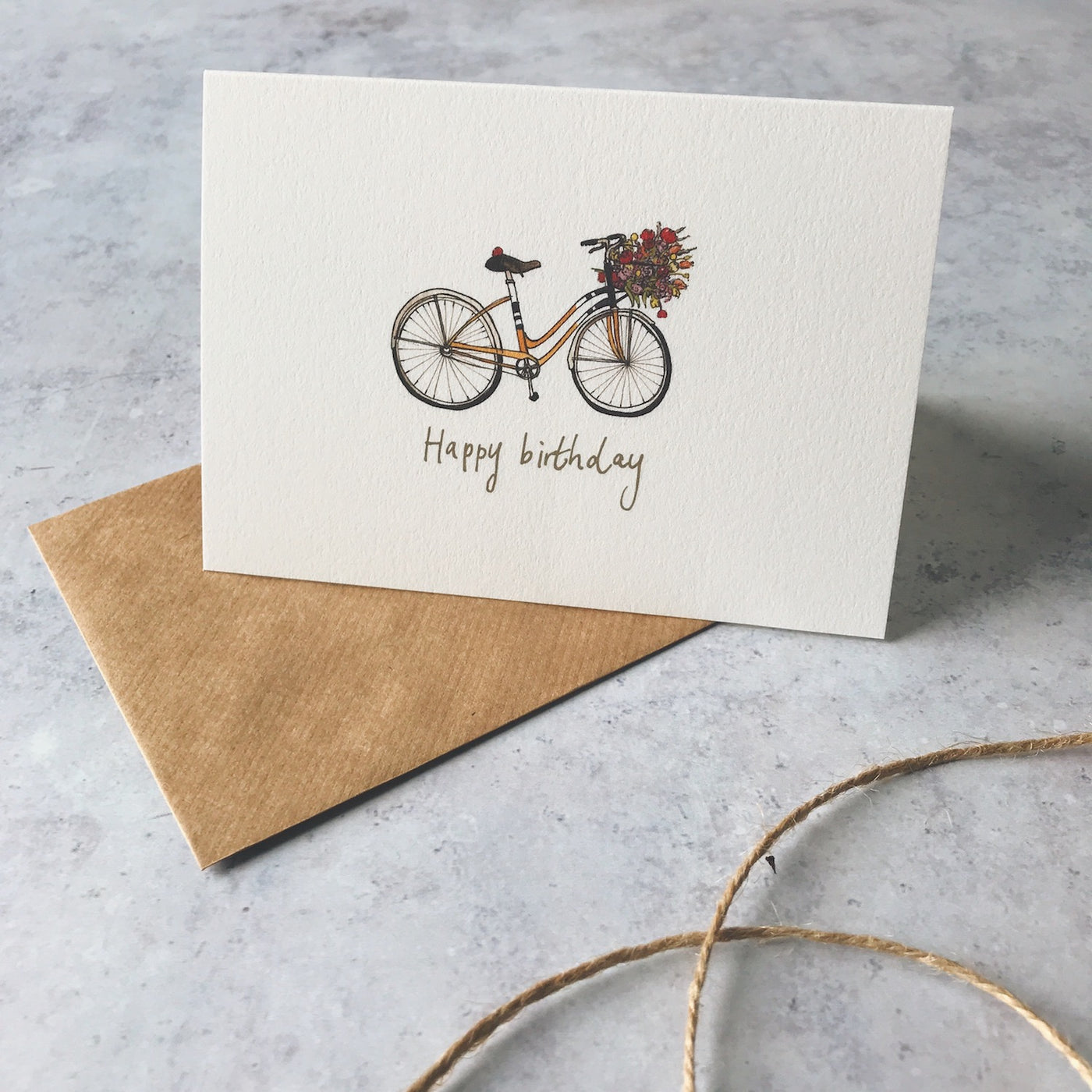Annie Brougham, illustrated greeting card, happy birthday, floral bicycle