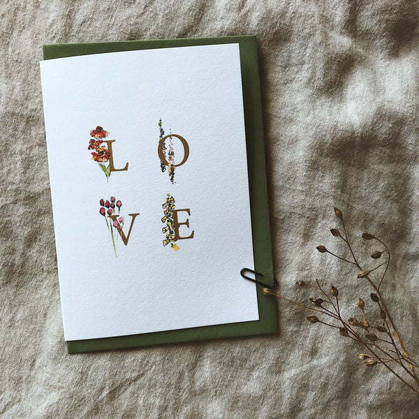 Annie Brougham, illustrated greeting card, floral, love