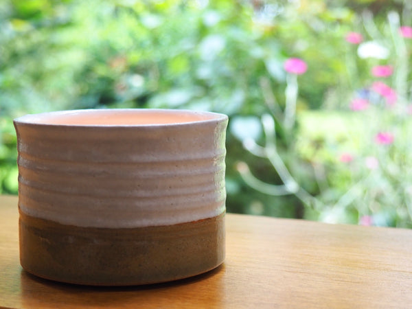Handcrafted Ceramic Tealight Holder in White and Olive Green Glossy Glaze by Tim Fenna