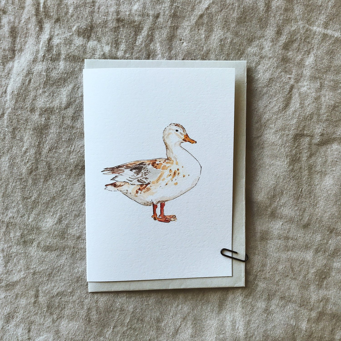 Annie Brougham, illustrated greeting card, puddle duck