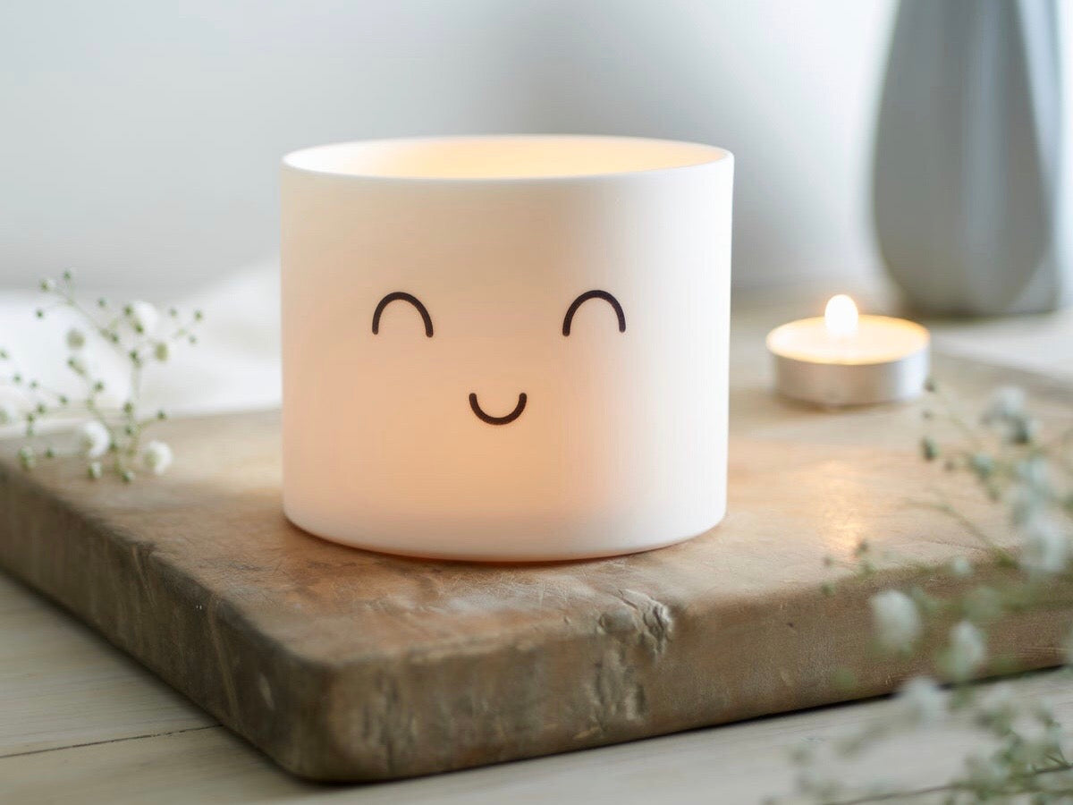 Medium Porcelain Smile Tealight Holder by Jack Laverick
