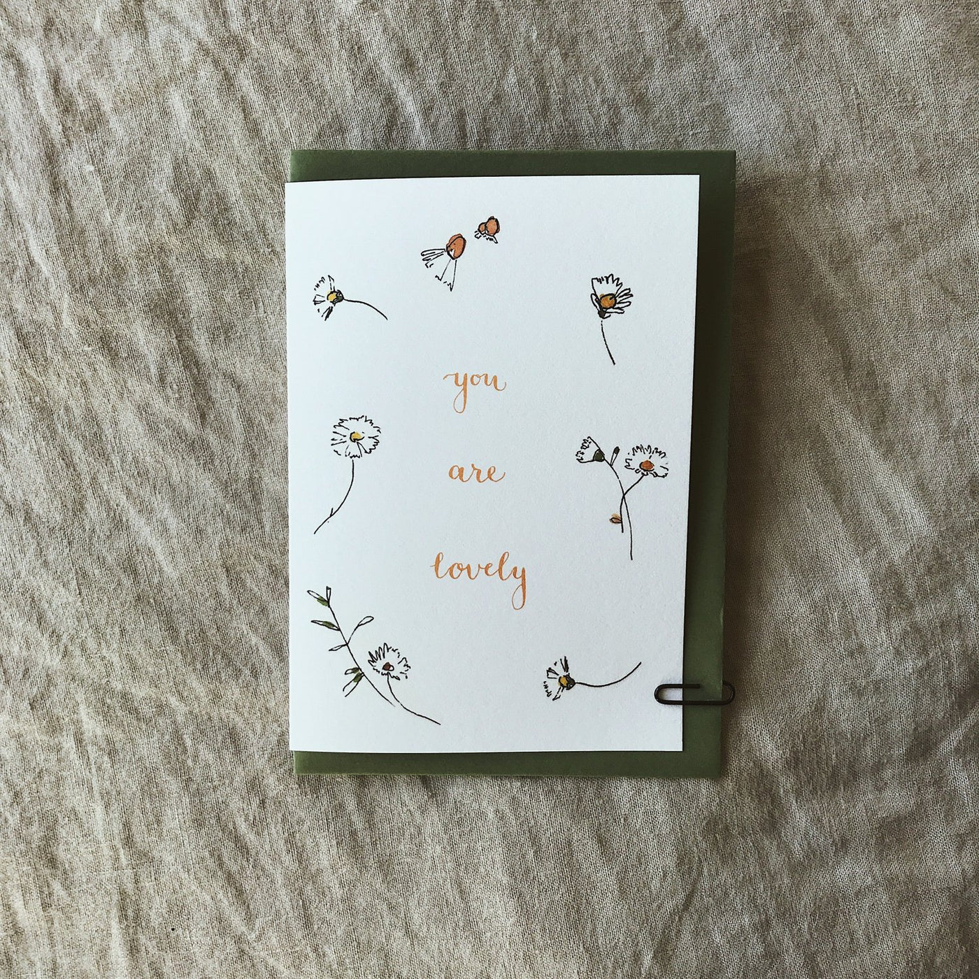 Annie Brougham, illustrated greeting card, you are lovely, floral