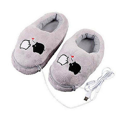 1 Pair USB Powered Cushion Shoes Electric Heat Slipper USB Gadget Cute Grey Piggy Plush USB Foot Warmer Shoes