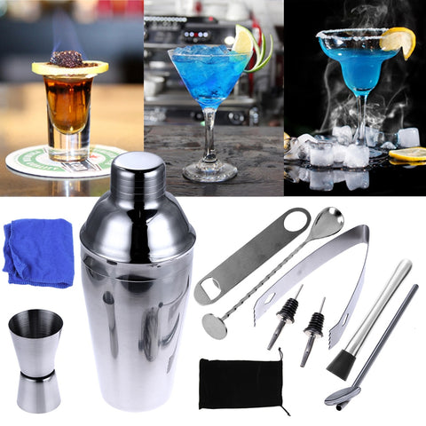 1 Set Wine Drink Cork for a bottle Shaker Mixer Spoon Strainer Ice Tongs Bartender Kit Bar Tool