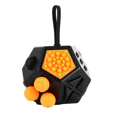 12 Sided Fidget Cube Psychological Hint Gadget Anxiety and Boredom for Children and Adults Black&Orange