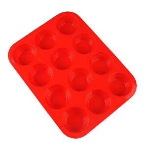 12 Lattices Round Shape Silicone Lollipop Mold Tray for Party Holidays Cupcake Baking - Random Color