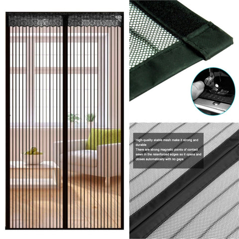 90*210cm Magnetic Mesh Screen Door Self-closing Curtain for Household Anti-insects (Black)