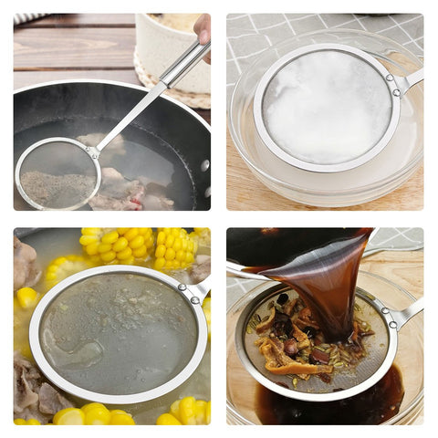 2018 New Kitchen Tools & Gadgets Stainless Steel Mesh Skimmer Vegetable Residue Oil Mesh Colander Strainer