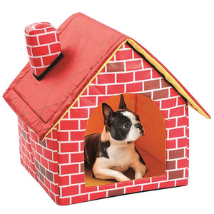 1PC Portable Red Brick Pet Dog House Warm And Cozy Cat Bed  Cat Puppy Home For Small Dog Removable Travel House