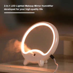 2-In-1 Makeup Mirror LED Lighted Make up Mirror Humidifier Delicate Mirror USB Charging Light Up Personal Makeup For Beauty