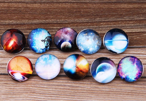 100pcs/lot high quality mix styles Starry Starry Night watch snaps Round glass snaps Bracelets fit 18mm snap jewelry jewelry