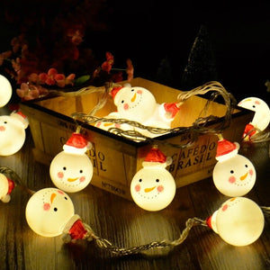 10/20 LED Snowman String Fairy Lights for Christmas Tree Xmas Party Home Decoration Night Light