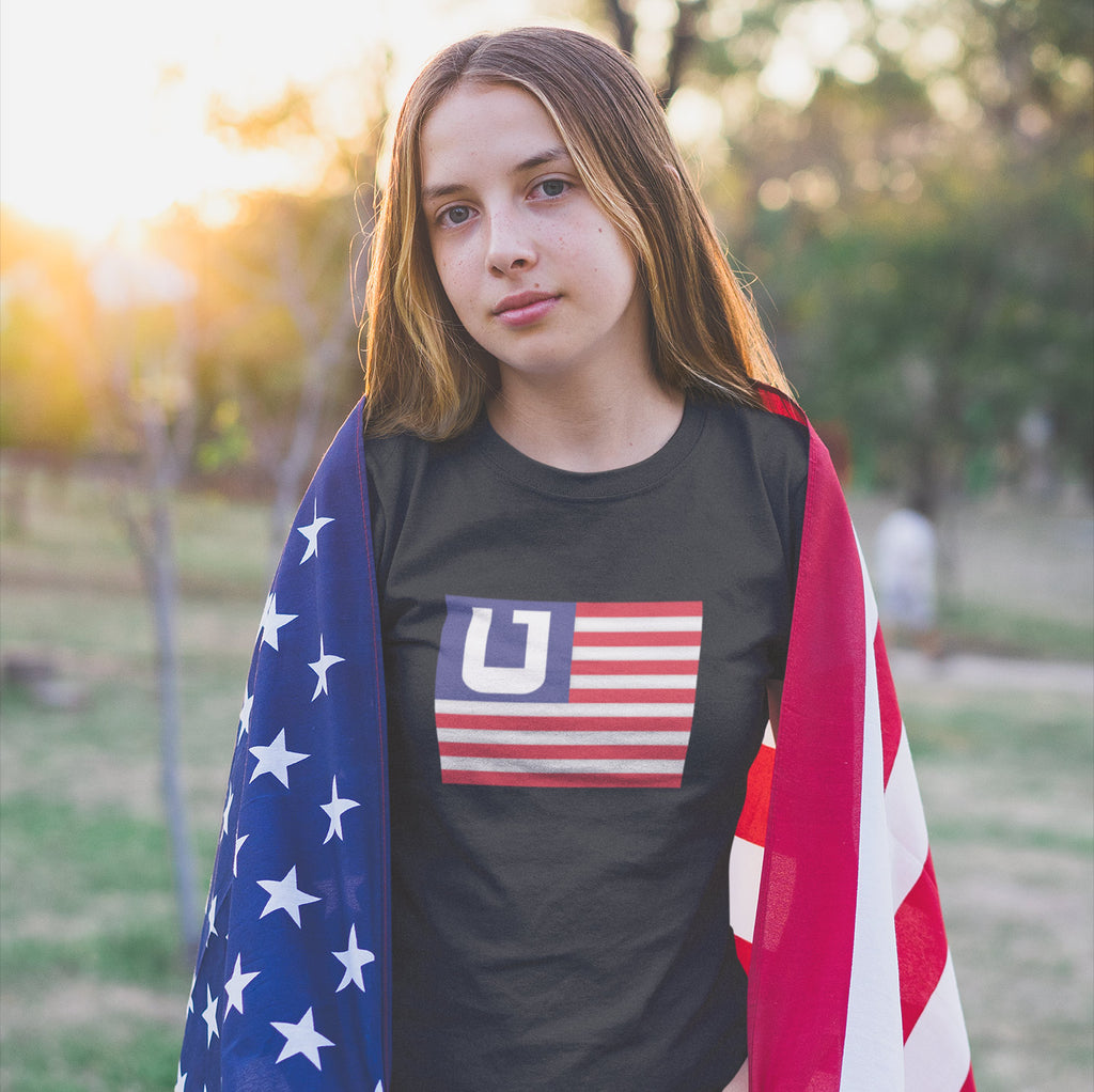 Women's American Flag Utah Edition t-shirt black