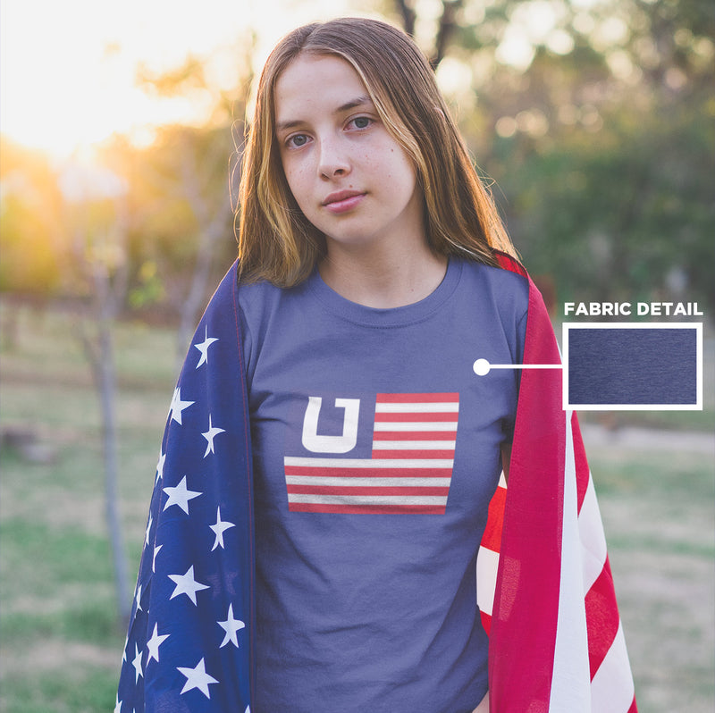 Women's American Flag Utah Edition t-shirt heather blue