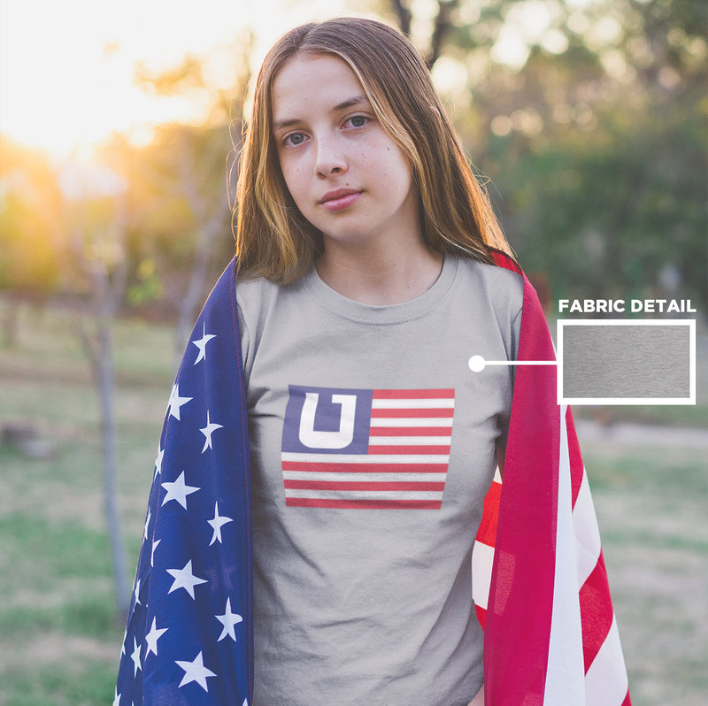 Women's American Flag Utah Edition t-shirt grey