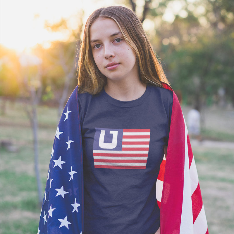 Women's American Flag Utah Edition t-shirt blue