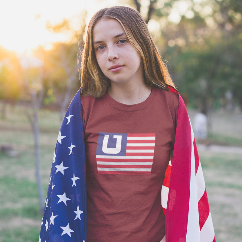 Women's American Flag Utah Edition t-shirt red