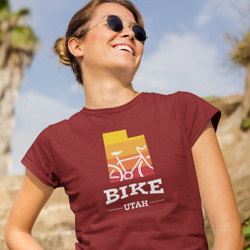 Women's Bike Utah Gradient T-shirt red