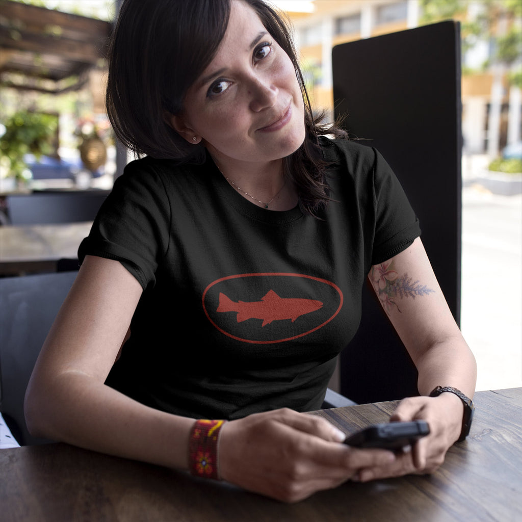 Women's Fish Oval t-shirt black