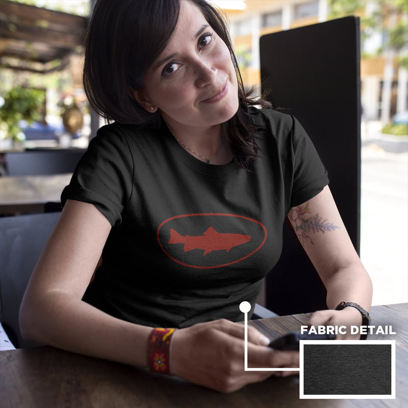 Women's Fish Oval t-shirt heather black