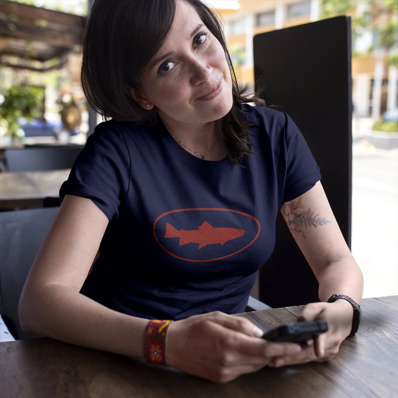 Women's Fish Oval t-shirt navy