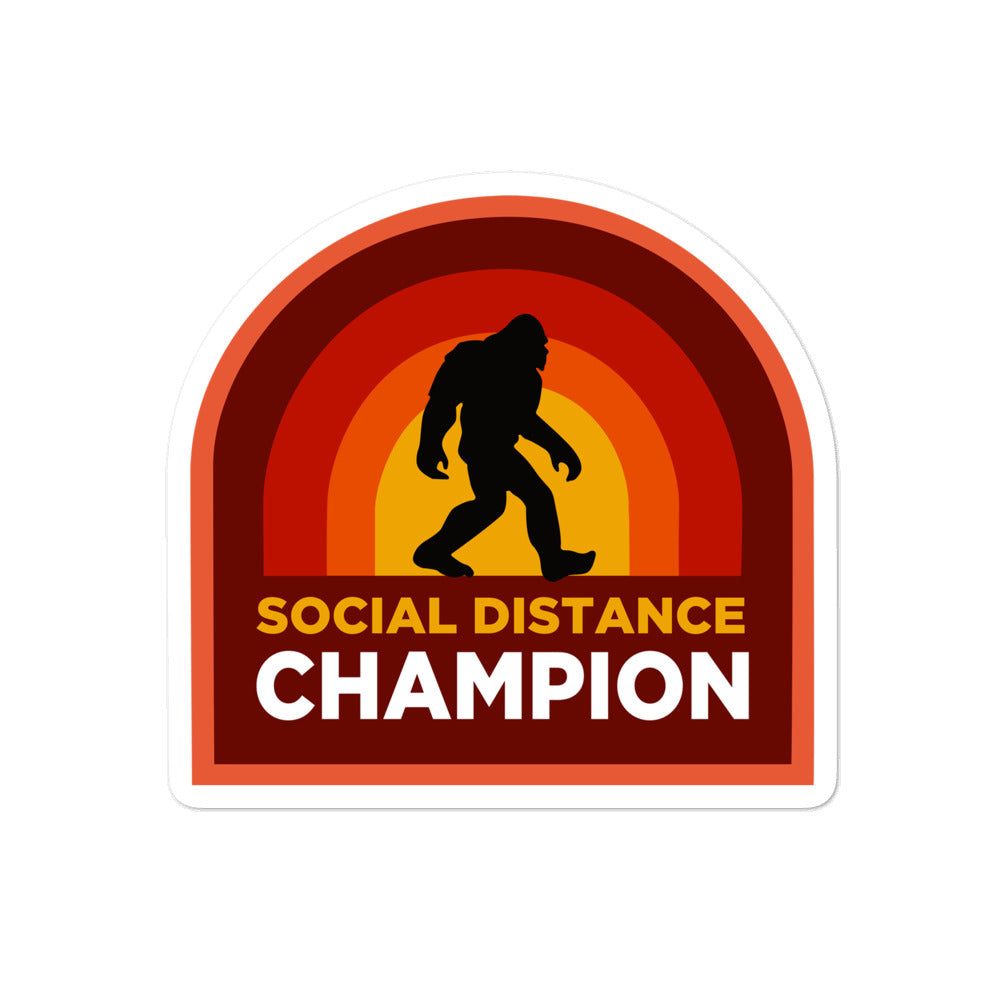 "Bigfoot Social Distance Champion 4x4"" sticker"