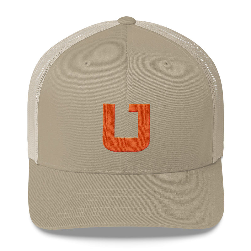 Utah Terrain Orange U Trucker Hat khaki