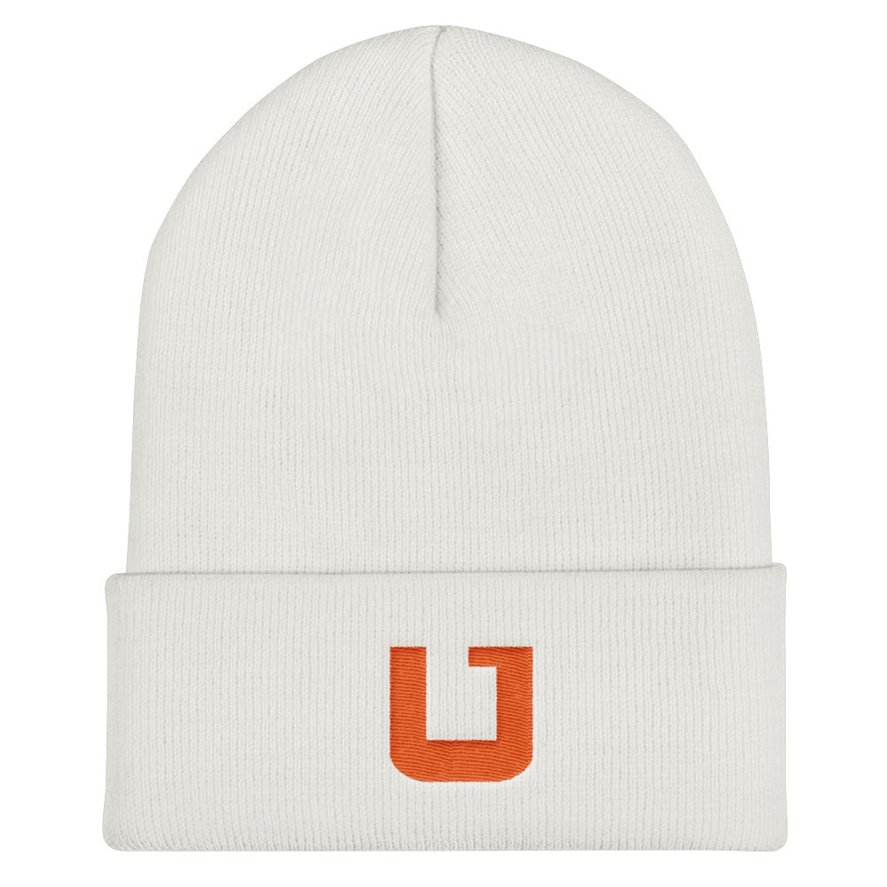 Utah Terrain Orange U Beanie White