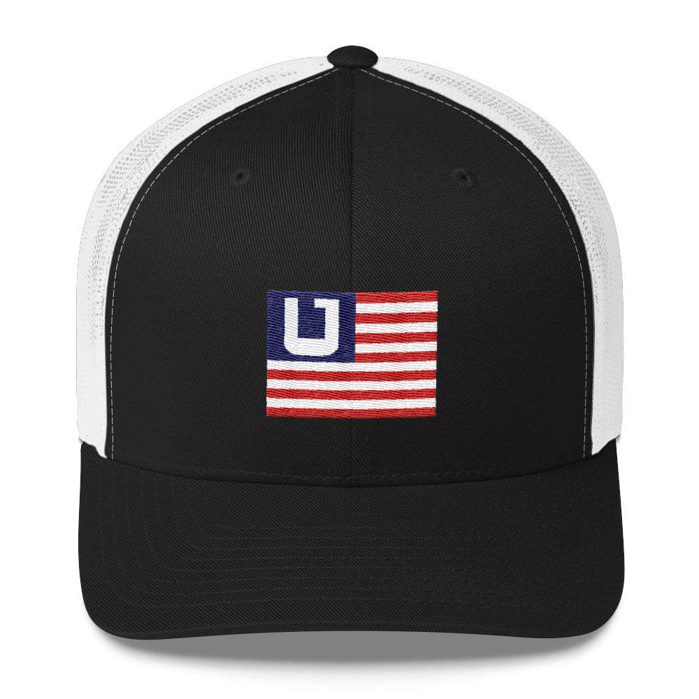 Utah Terrain Flag Trucker Hat white and black