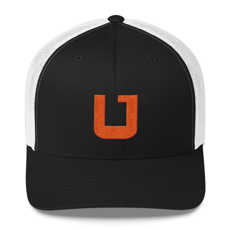 Utah Terrain Orange U Trucker Hat white and black
