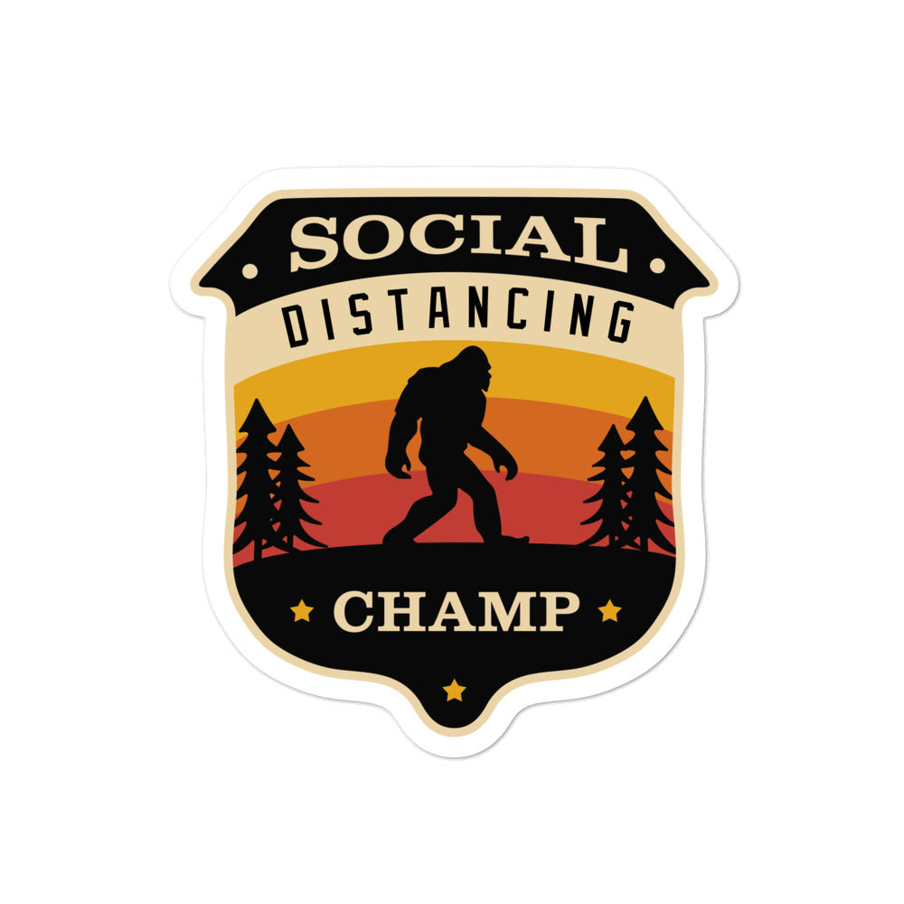 "Bigfoot Social Distancing Champ 4x4"" sticker"