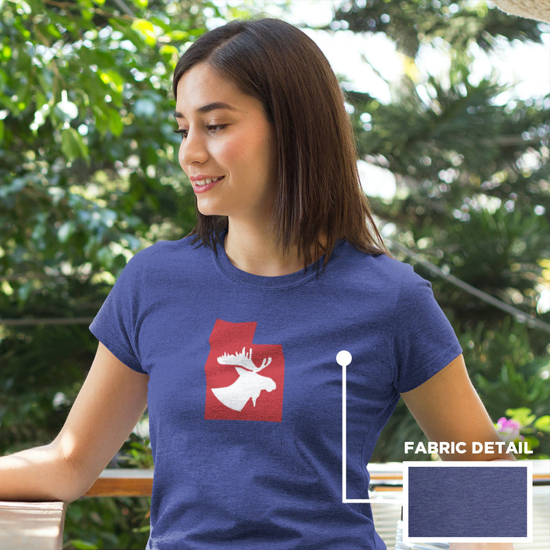Women's Moose Silhouette t-shirt heather blue