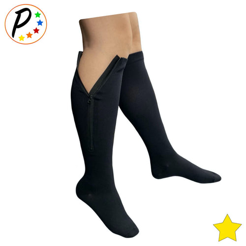 (Petite) Closed Toe 8-15 mmHg Mild Compression Leg Calf Circulation Zipper Socks