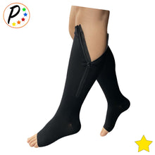 Load image into Gallery viewer, (Petite) 8-15 mmHg Mild Compression Increase Circulation Open Toe Zipper Socks