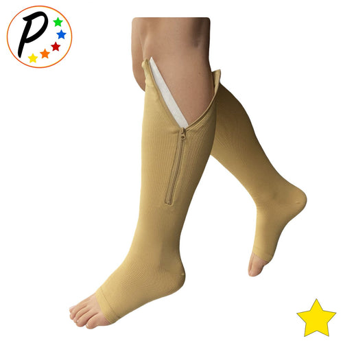 (Petite) 8-15 mmHg Mild Compression Increase Circulation Open Toe Zipper Socks