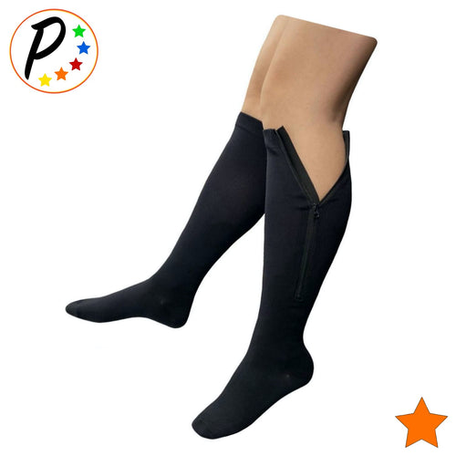 (Petite) Closed Toe 15-20 mmHg Moderate Zipper Compression Leg Circulation Socks