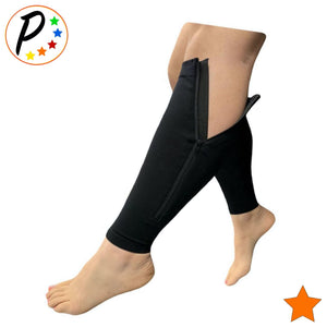 Footless 15-20 mmHg Moderate Compression Leg Circulation Calf Sleeve With Zipper