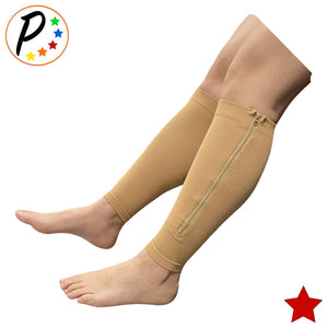 Senior's Footless 15-20 & 20-30 mmHg Compression Leg Circulation Mix & Match Shin Calf Sleeve With Zipper