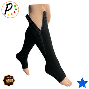Open Toe 30-40 mmHg X-Firm Compression With YKK Zipper Leg Circulation Pain Swelling Socks