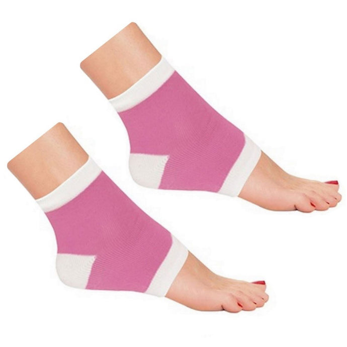 Foot Ankle Built-In Gel Moisturizing Soften Heel Sock - Pink