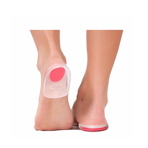 Foot Ankle Heel Cup Gel Silicone Shock Absorbing Cushion Support - Red