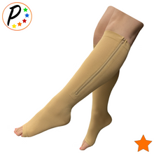 Load image into Gallery viewer, (BIG & TALL) Open Toe 15-20 mmHg Zipper Moderate Compression Circulation Knee Length Socks