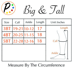 (BIG & TALL) Closed Toe Grey 15-20 mmHg Zipper Compression Sock Fatigue Support Socks