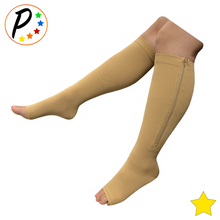 Load image into Gallery viewer, Open Toe 8-15 mmHg Mild Zipper Compression Leg Fatigue Calf Circulation Socks