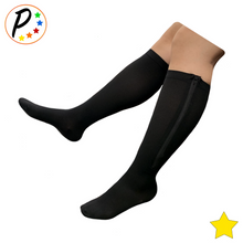 Load image into Gallery viewer, Closed Toe 8-15 mmHg Mild Zipper Compression Leg Calf Circulation Support Socks